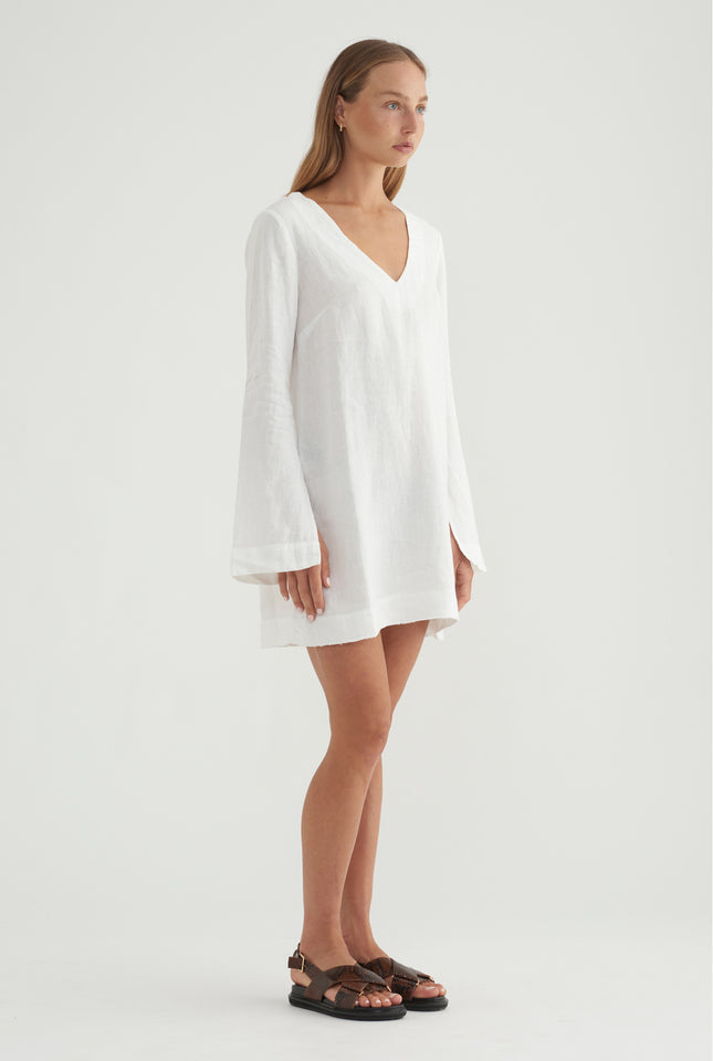 V Neck Dress - White