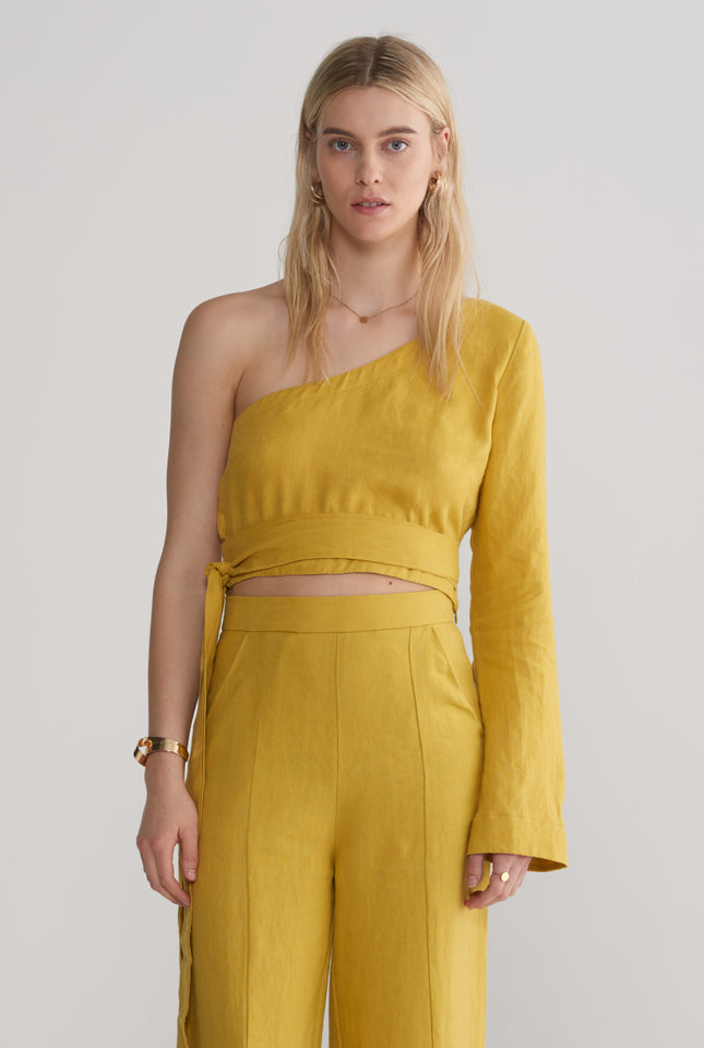 One Shoulder Top - Mustard