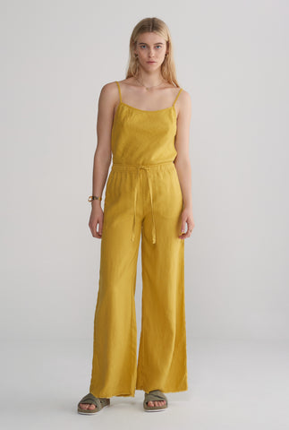 Womens Relaxed Wide Leg Pant - Mustard