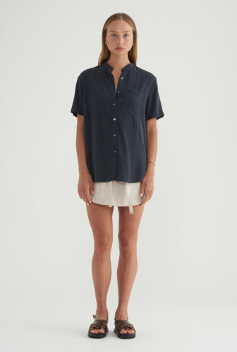 WOMENS TENCEL Short Sleeve SHIRT - NAVY