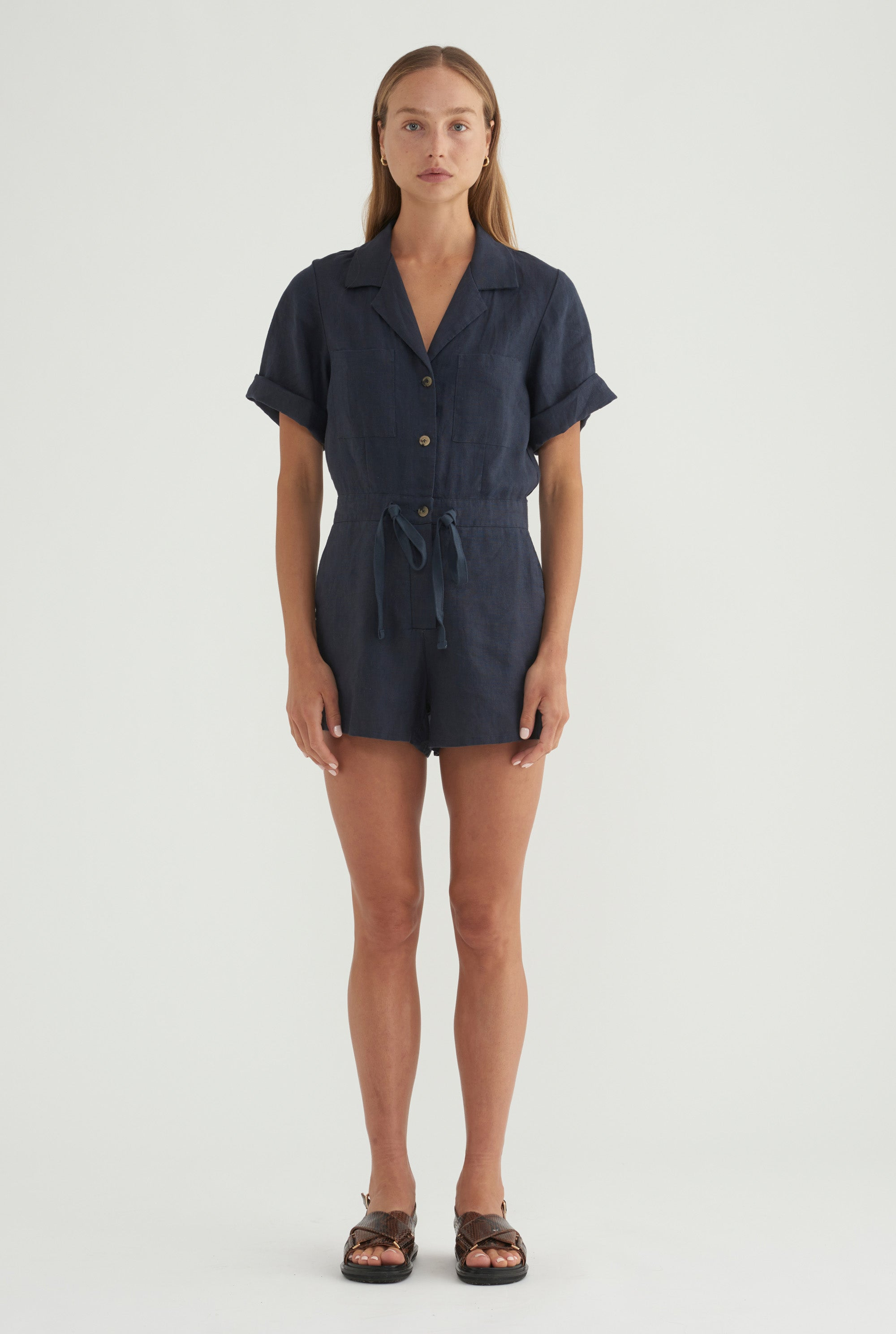 Short Sleeve Playsuit - Navy