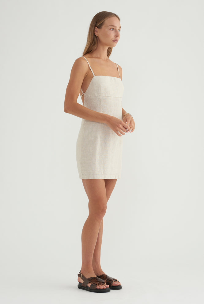 Womens Linen Bias Dress - White