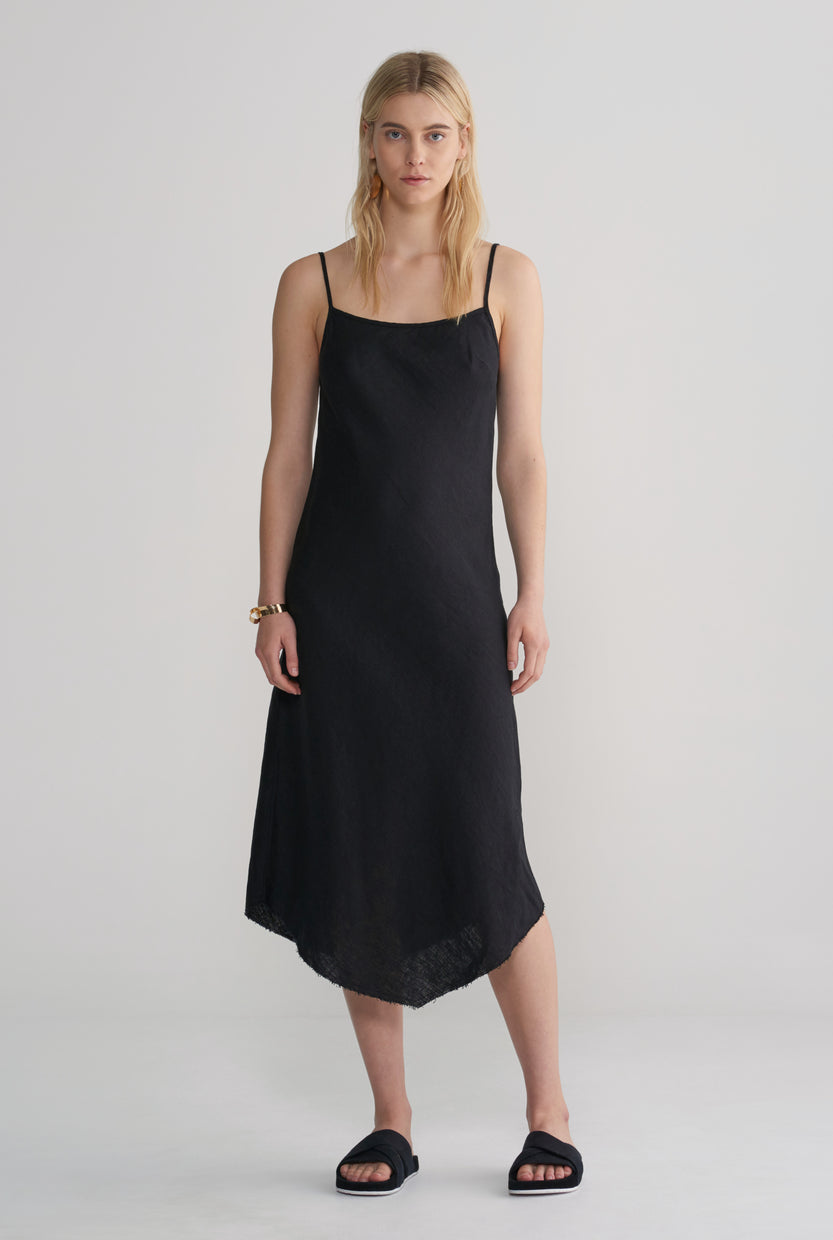 Womens Linen Bias Dress - Black