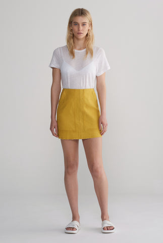 Womens Pocket Mini Skirt - Mustard