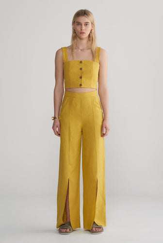 Womens Button Front Bodice - Mustard