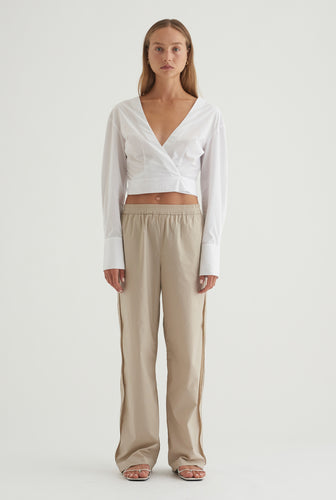Cotton Wrap Shirt - White