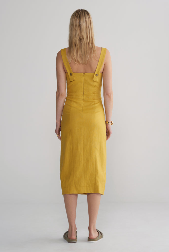 Womens Fitted Front Split Dress - Mustard