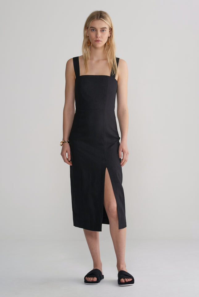 Womens Fitted Front Split Dress - Black
