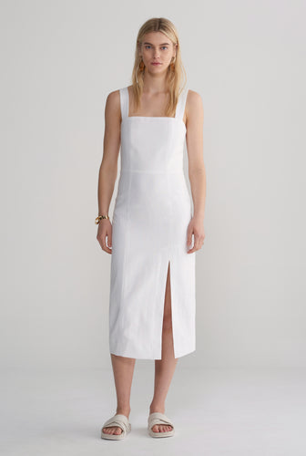 Fitted Front Split Dress - White