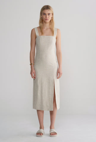 Womens Fitted Front Split Dress - Sand