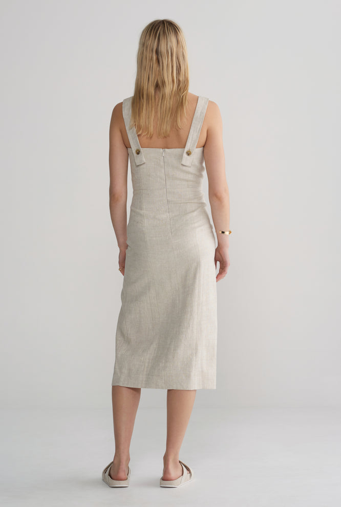 Fitted Front Split Dress - Sand