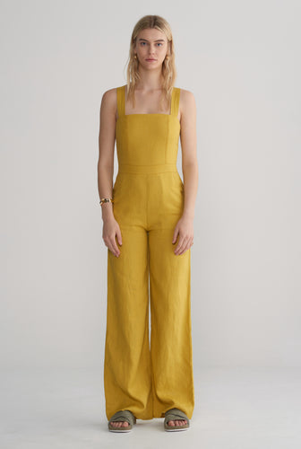 Womens Fitted Jumpsuit - Mustard