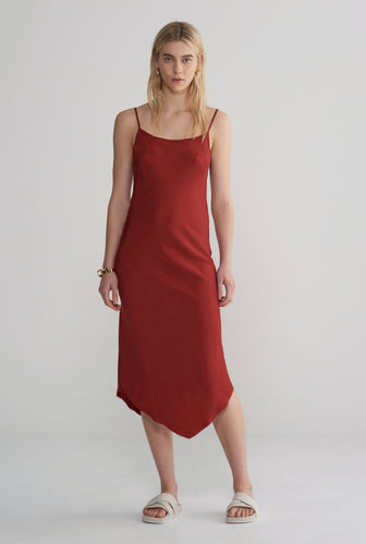 Silk Bias Dress - Rust