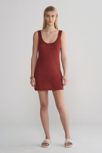 Knitted Mini Dress - Rust