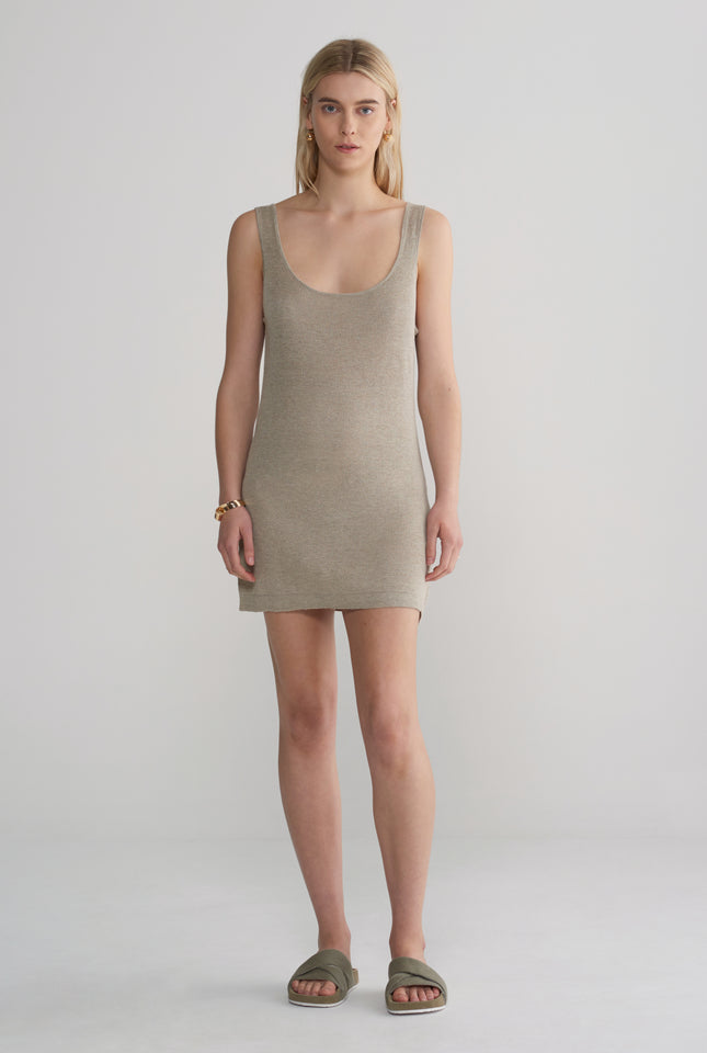 Womens Knitted Mini Dress - Taupe