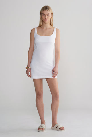 Terry Towel Mini Dress - White