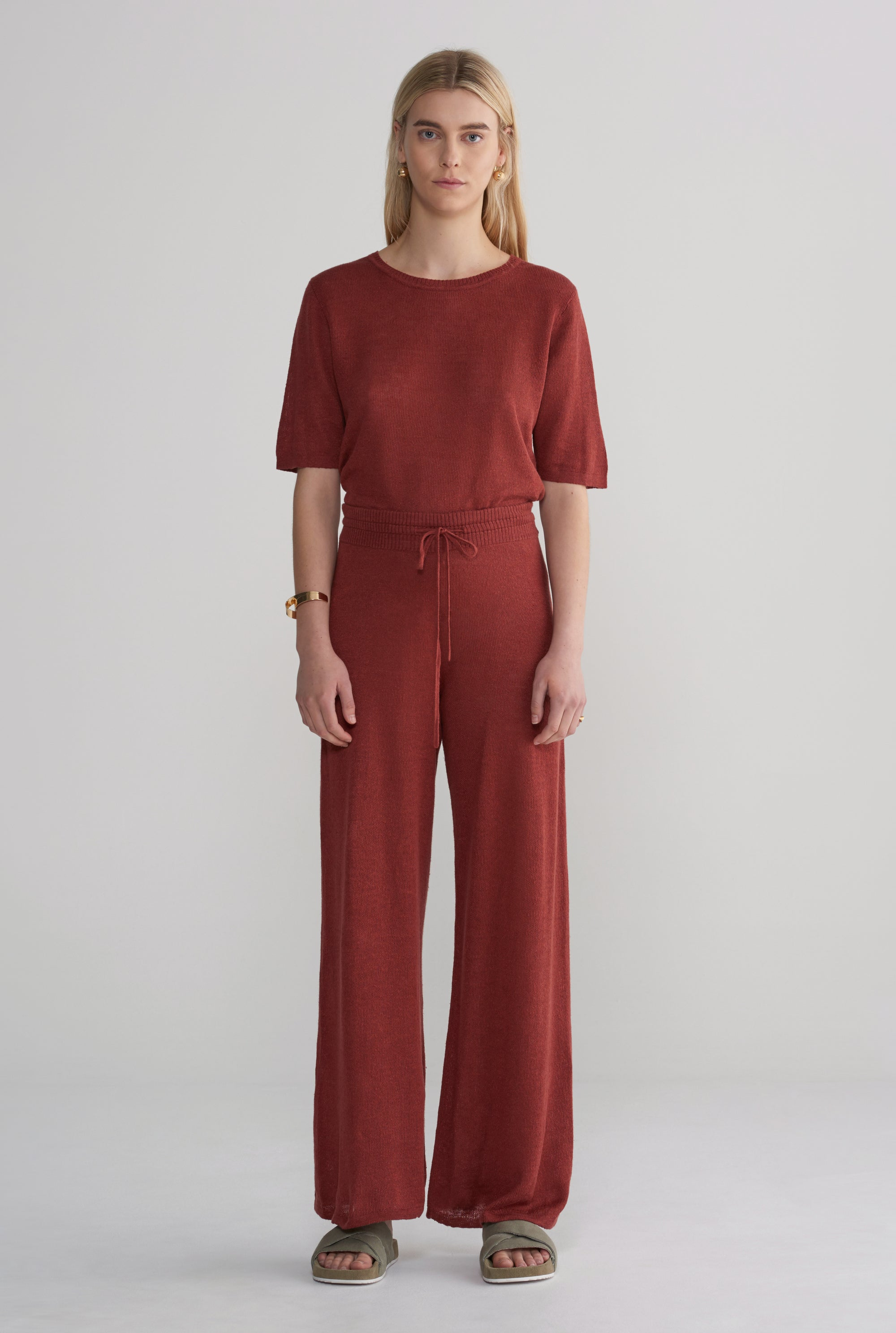 Womens Linen Knitted Wide Leg Pant - Rust