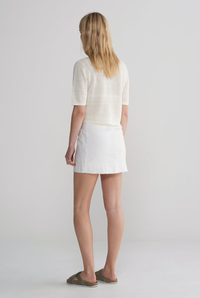 Cropped Knitted T-Shirt - Ivory