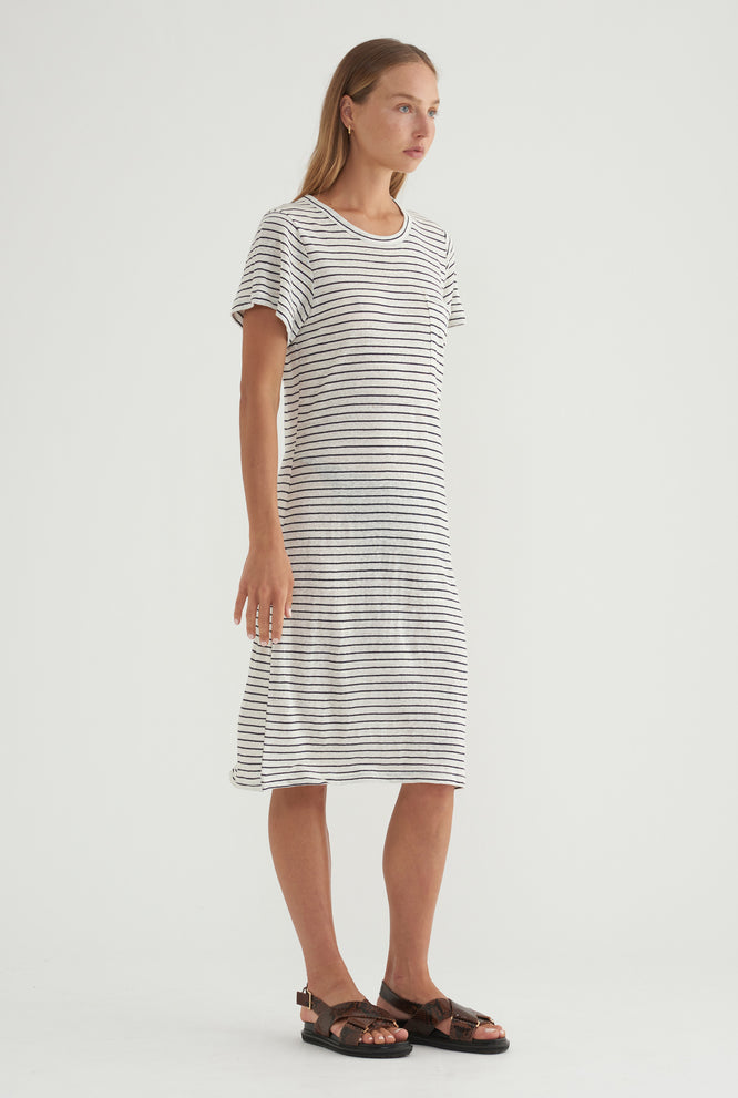 Tee Dress - White/Black Stripe