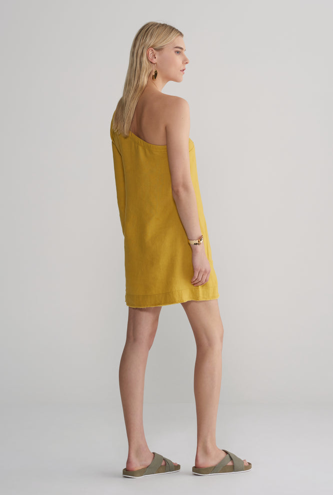 One Shoulder Dress - Mustard