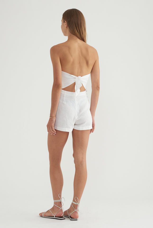 Tie Back Playsuit - White
