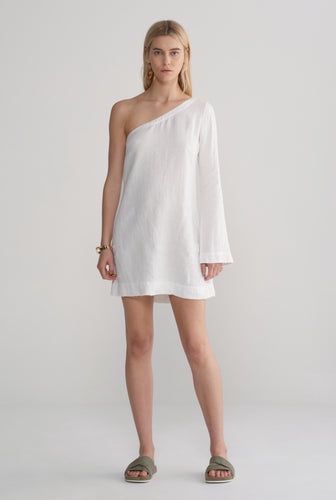 One Shoulder Dress - White