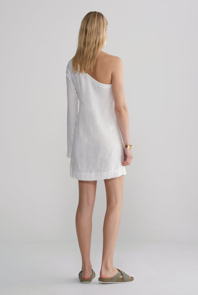 Womens One Shoulder Dress - White