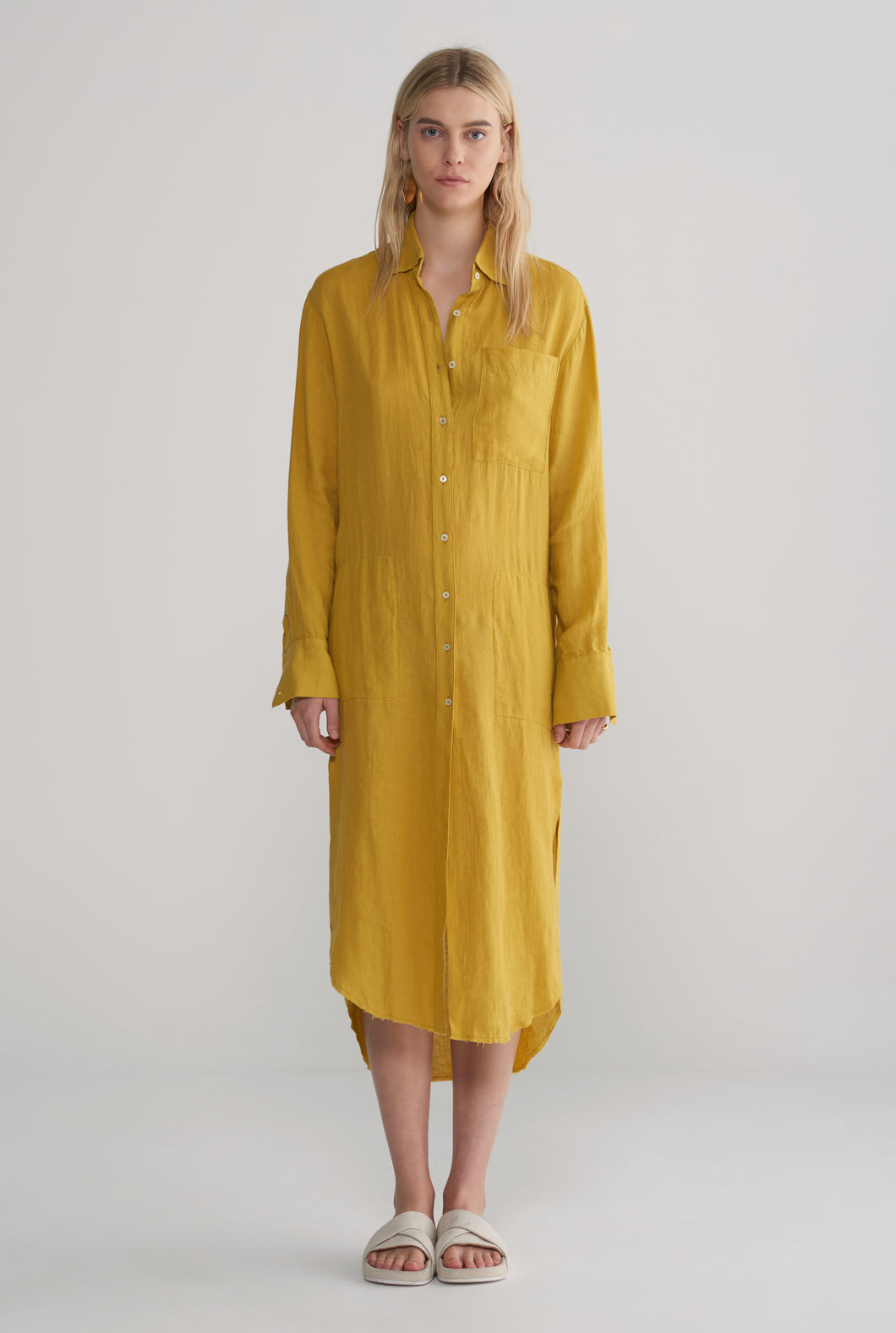 Womens Oversized Shirt Dress - Mustard