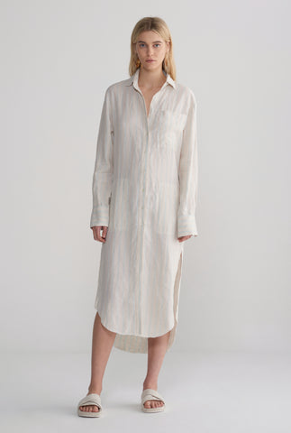Womens Oversized Shirt Dress - Summer Stripe