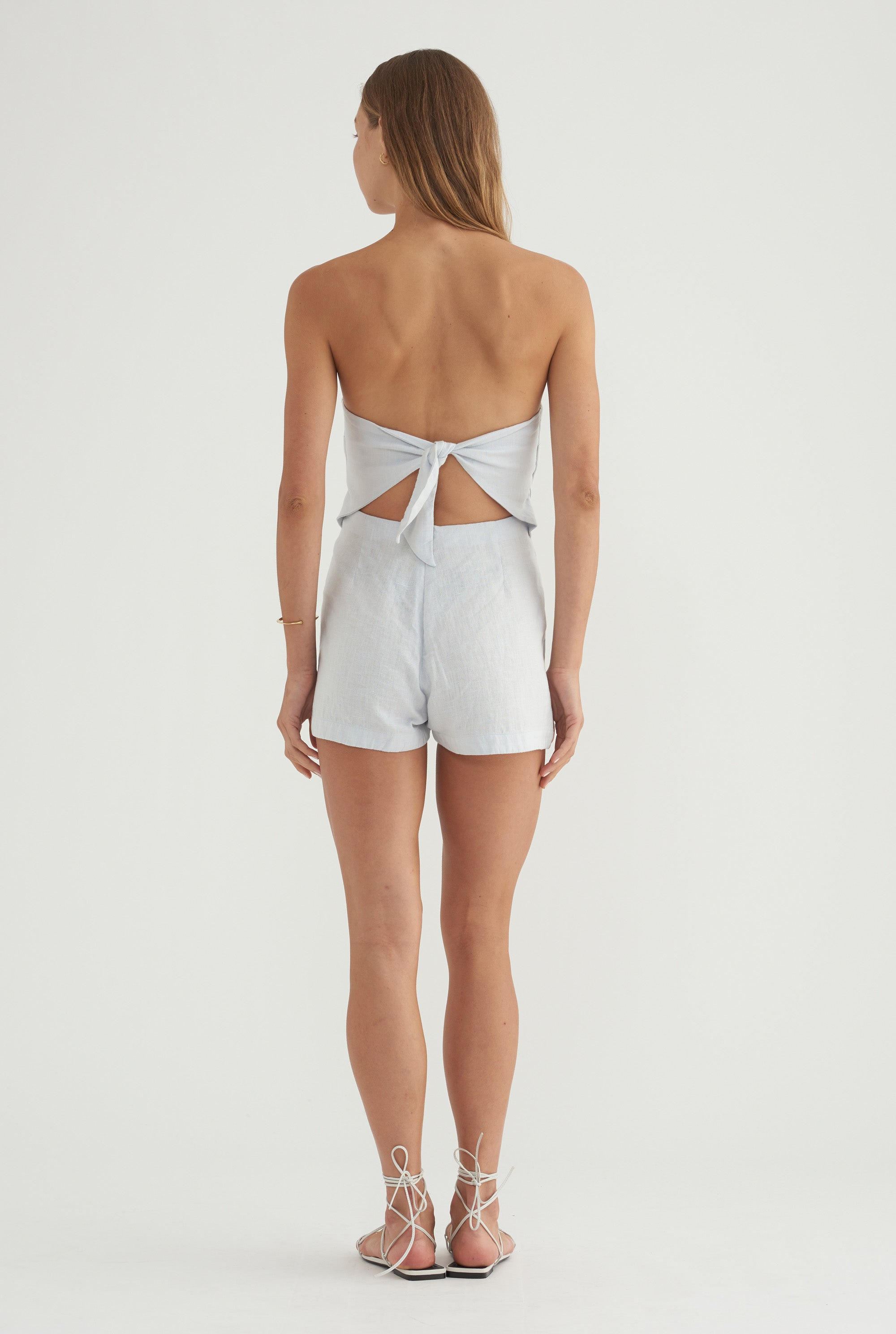 Tie Back Playsuit - Ice Blue