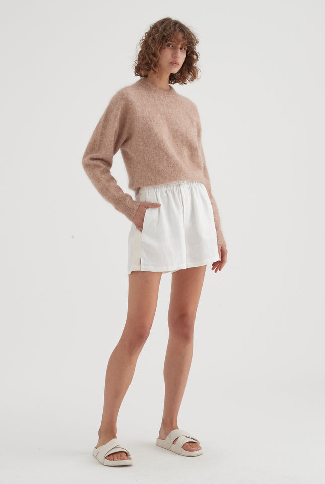 Mohair Crewneck Sweater - Almond