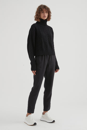 Cotton Cashmere Cable Knit - Black