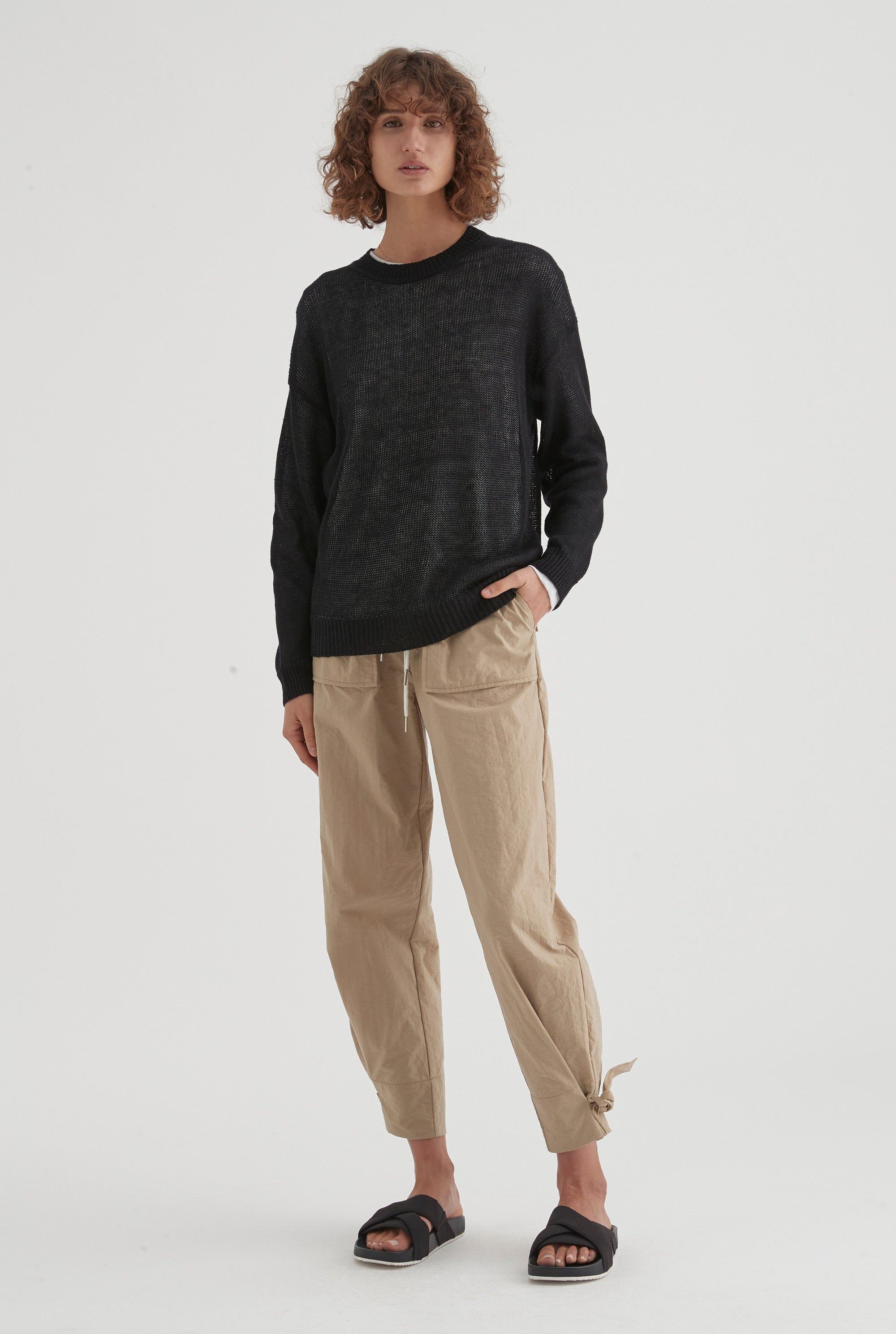 Open Gauge Sweater - Black