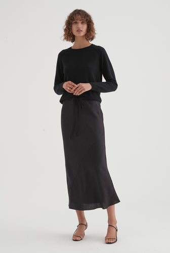 Bias Drawstring Skirt - Black