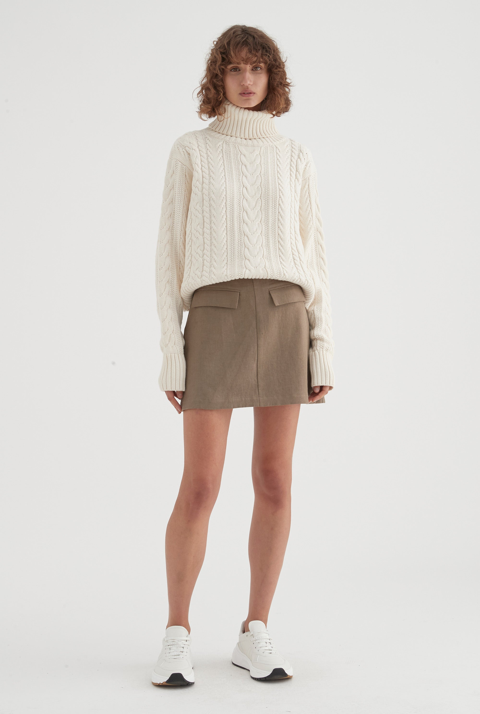 Tailored Mini Skirt - Military