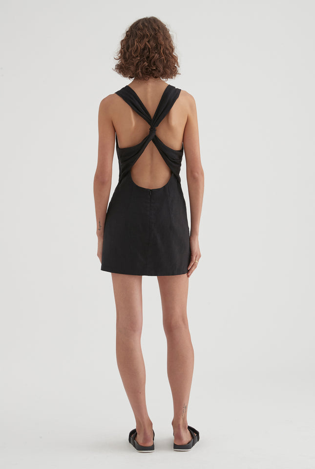 Knot Back Dress - Black