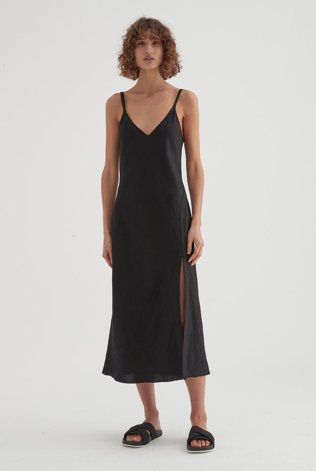 Front Split Dress - Black