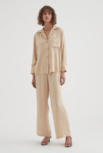 Silk Long Sleeve Shirt - Champagne