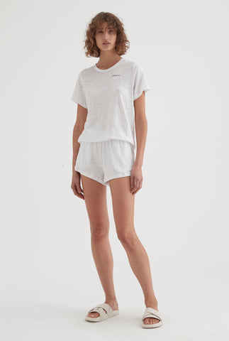 Womens Linen Jersey Set - White