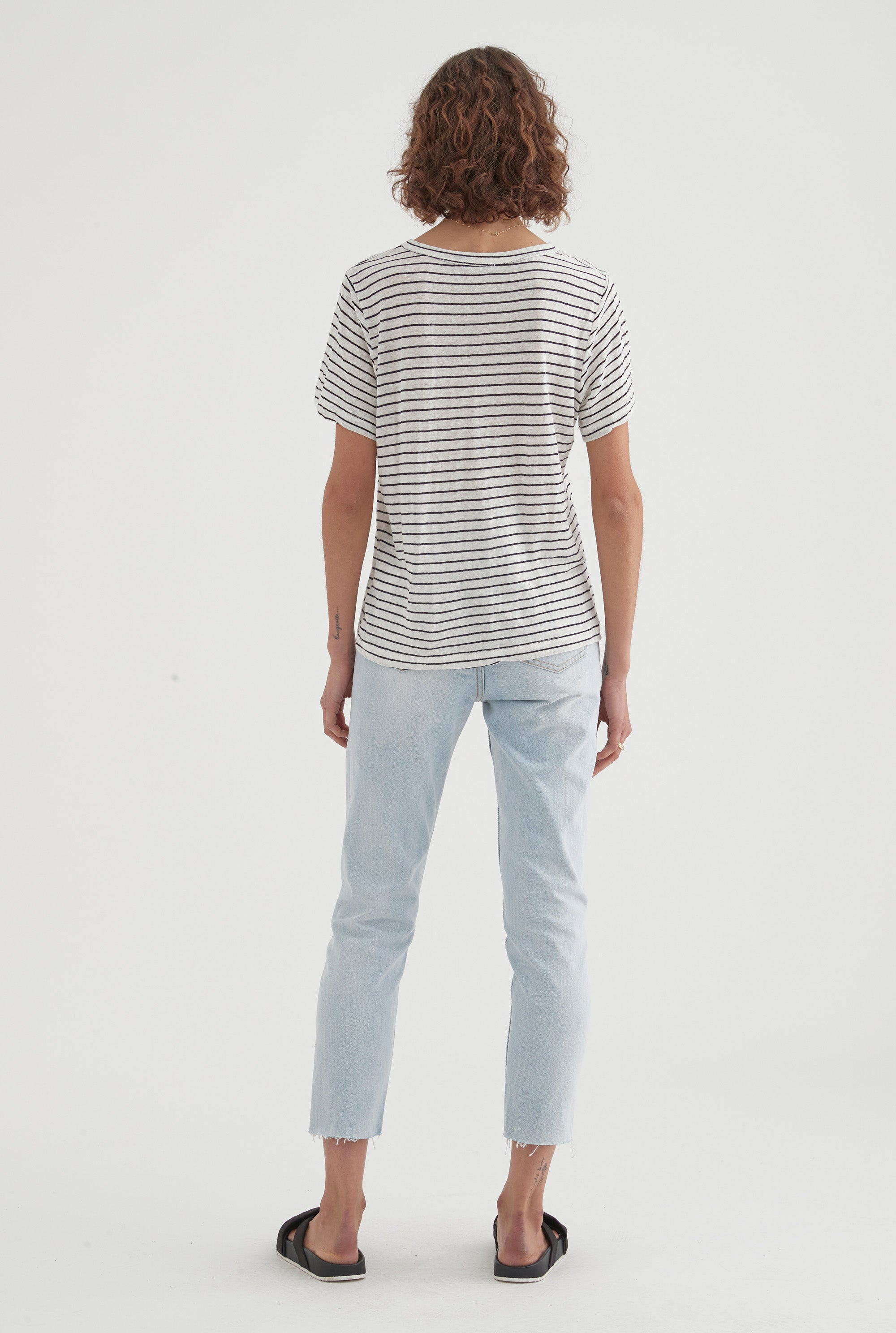 Pocket T-Shirt - White/Black Stripe