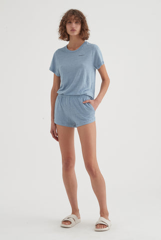 Womens Linen Jersey Set - Dusty Blue
