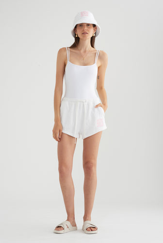 Beach Club Womens Terry Short - White