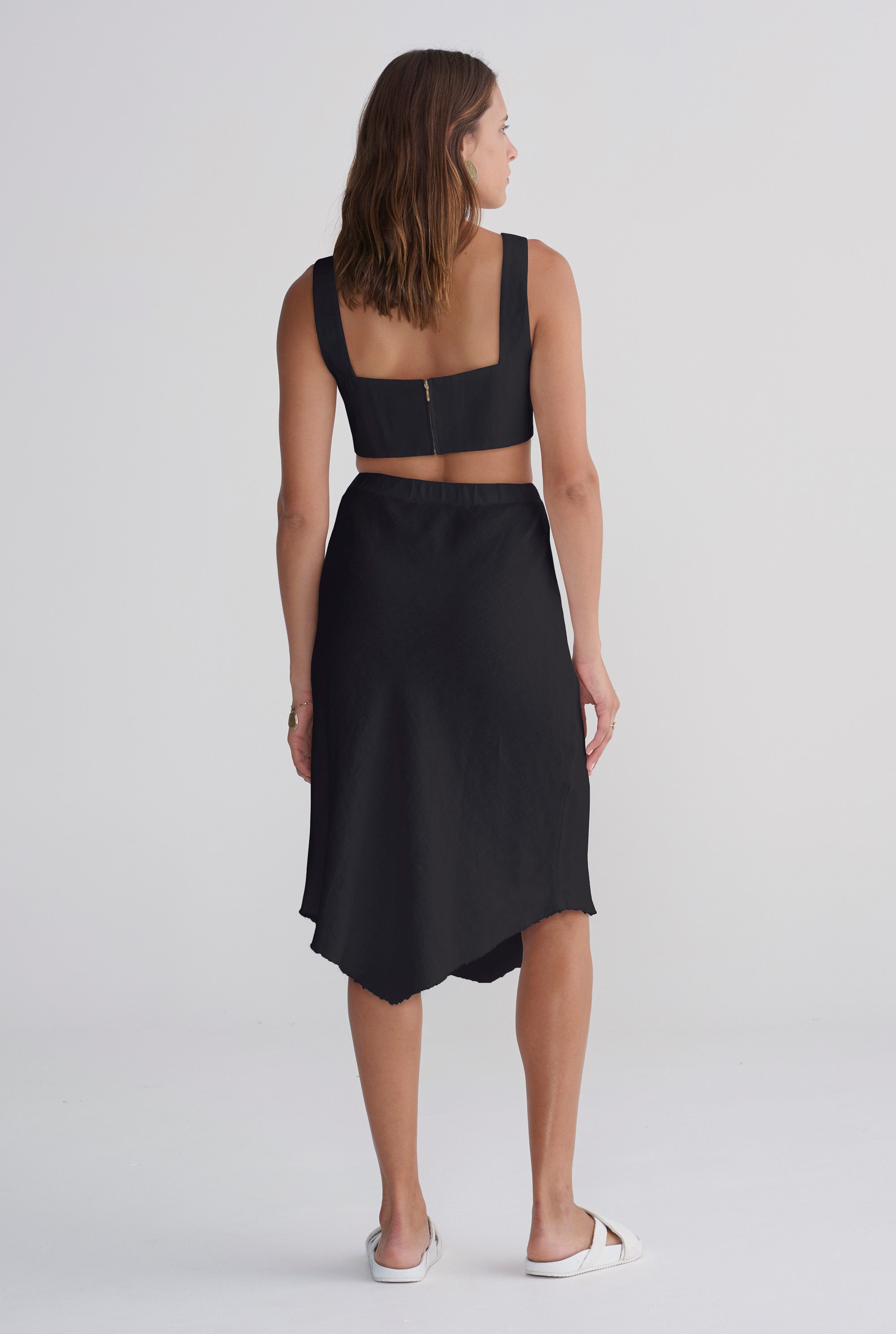 Womens Bias Skirt - Black