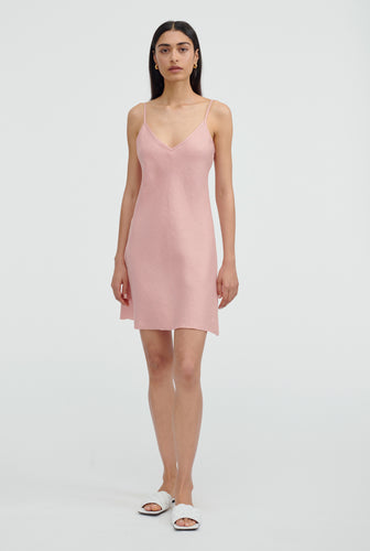 Mini Linen Bias Slip Dress - Melon