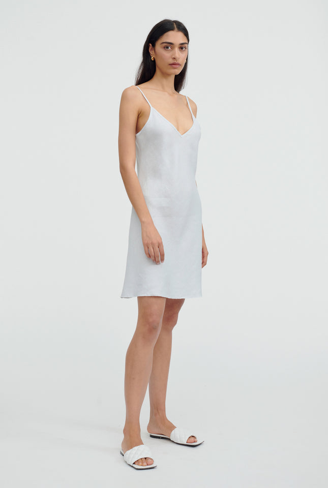 Mini Linen Bias Slip Dress - Light Blue