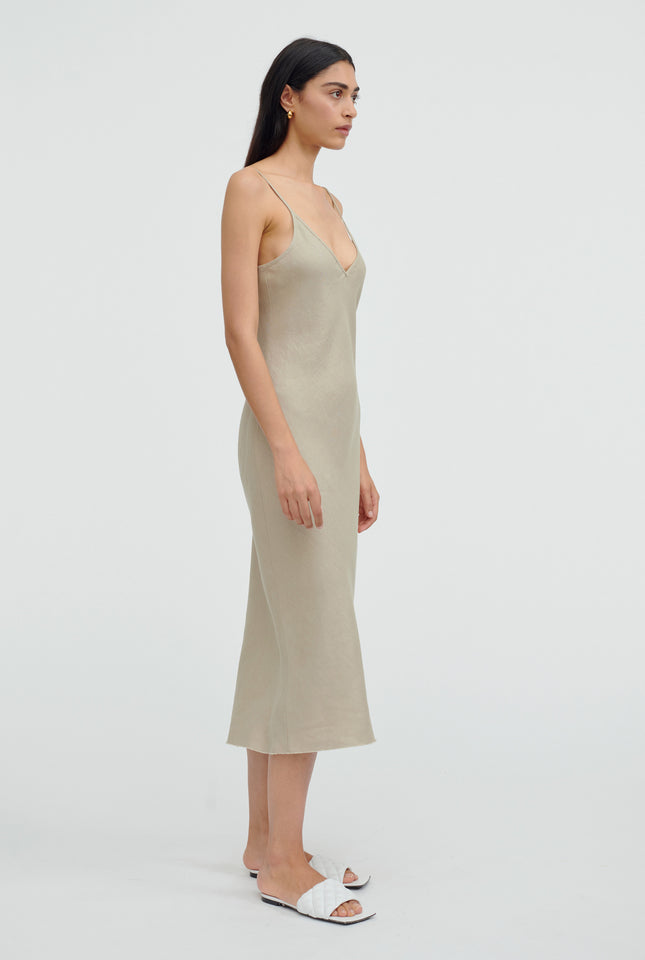 Linen Bias Slip Dress - Taupe