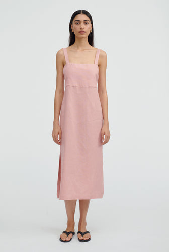 Linen Lounge Dress - Melon