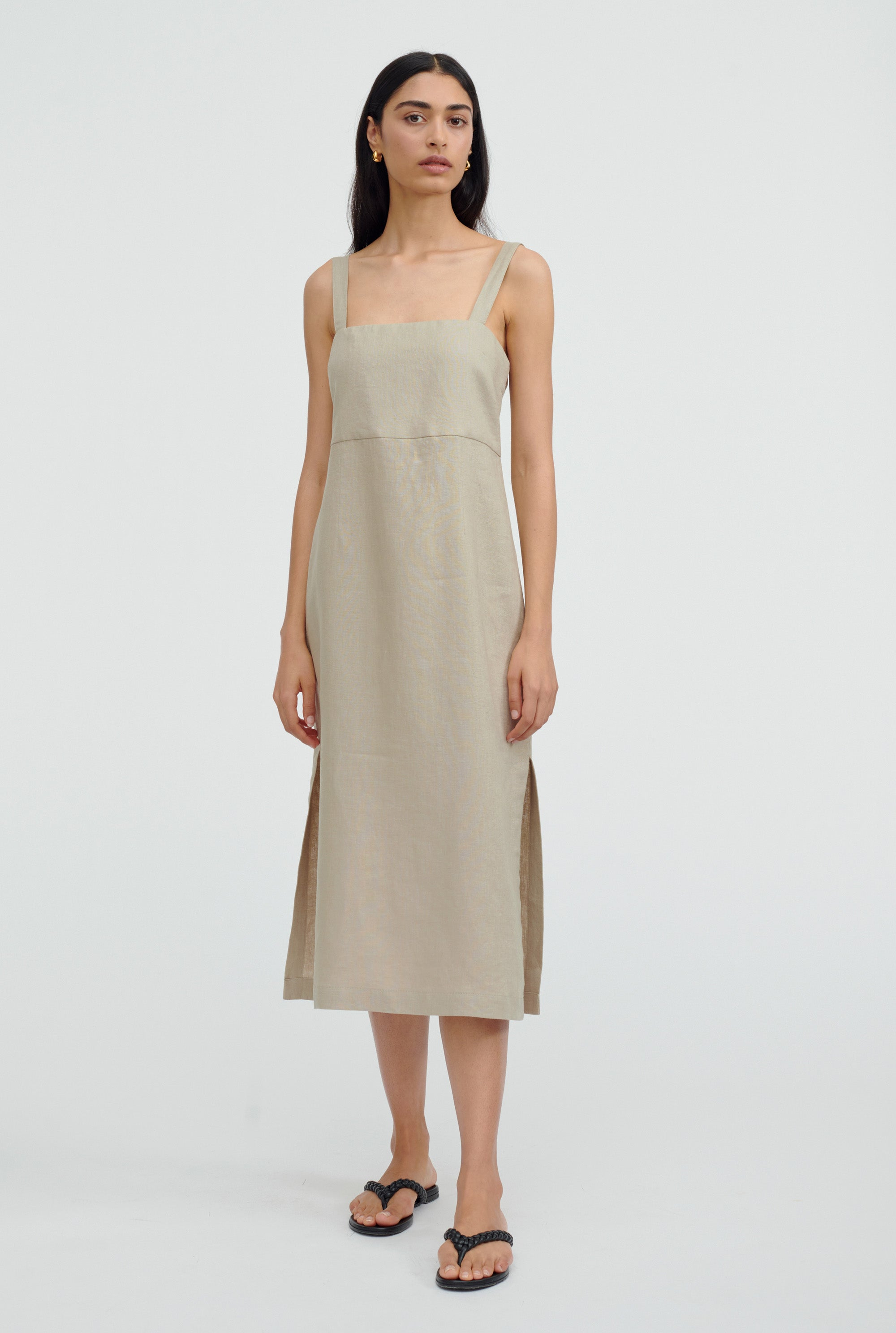 Linen Lounge Dress - Taupe