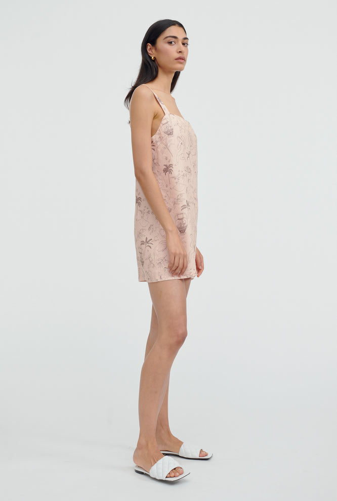 Printed Linen Mini Dress - Cherub Print