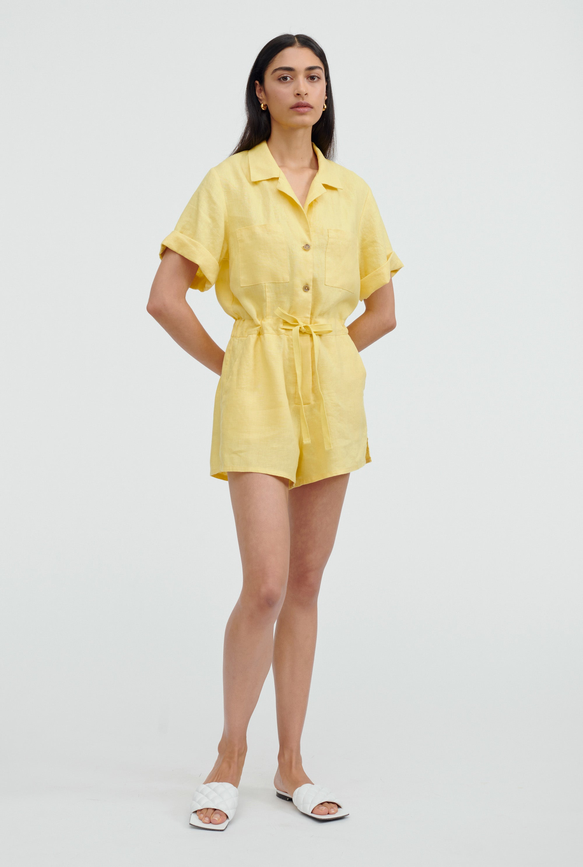 Camp Collar Playsuit - Lemon